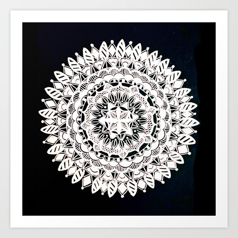 Metallic White Floral Mandala On Black Background Art Print By