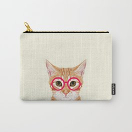 Ginger - Cute cat with glasses hipster cat art for dorm college decor funny cat lady meme Carry-All Pouch