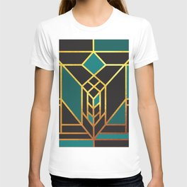 Art Deco Leaving A Puzzle In Turquoise T-shirt