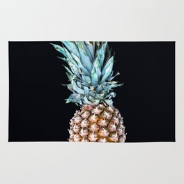Pineapple On A Black Background #decor #society6 Rug