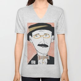James Joyce with a Hat and Glasses Unisex V-Neck