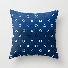 Playstation Controller Pattern - Navy Blue Throw Pillow