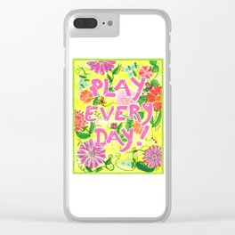 Play Every Day! Flower Painting Clear iPhone Case