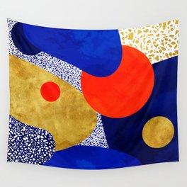 Terrazzo galaxy blue night yellow gold orange Wall Tapestry
