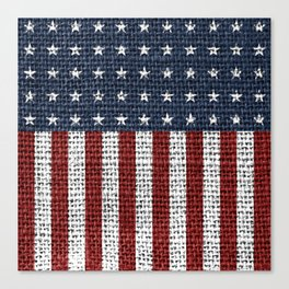 USA American Flag Rustic Jute Style 4th July Decor Canvas Print