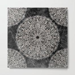 MANDALA ON BLACK MARBLE Metal Print