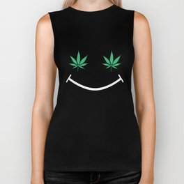 Happy Weed Smiley Face Biker Tank
