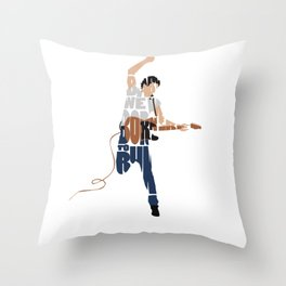 Typography Art of Boss of the Rock Bruce Frederick Springsteen Throw Pillow
