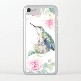 Guardian - watercolor hummingbird with nest Clear iPhone Case