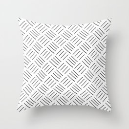 Gray and White Cross Hatch Design Pattern Throw Pillow