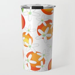 Orange Blossom Pattern Travel Mug