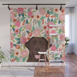 Chocolate Lab floral dog head cute labrador retriever must have pure breed dog gifts Wall Mural