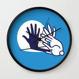 hand shadow rabbit Wall Clock