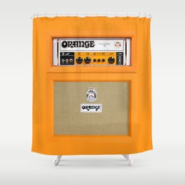 Bright Orange color amplifier amp Shower Curtain