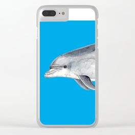 Bottlenose dolphin blue background Clear iPhone Case