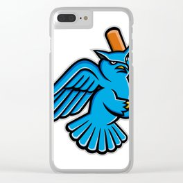 Great Horned Owl Baseball Mascot Clear iPhone Case