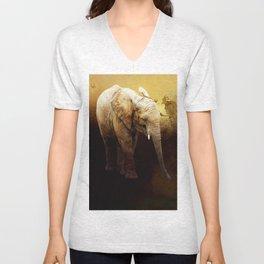 The cute elephant calf Unisex V-Neck