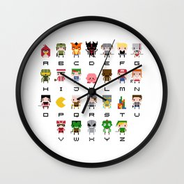 Video Games Pixel Alphabet Wall Clock