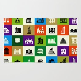 Silhouettes of city buildings Rug
