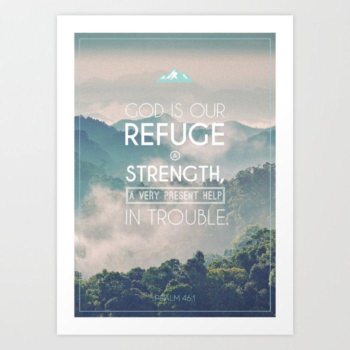 Typography Motivational Christian Bible Verses Poster - Psalm 46:1 Art Print