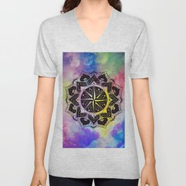 """Rose of the Winds""  WATERCOLOR MANDALA (HAND PAINTED) BY ILSE QUEZADA Unisex V-Neck"