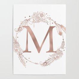 Letter M Rose Gold Pink Initial Monogram Poster