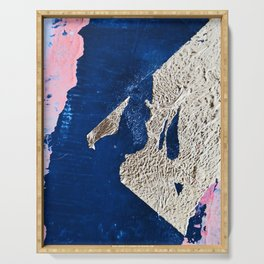 By the Bay: a minimal abstract mixed-media piece in blue gold and pink by Alyssa Hamilton Art Serving Tray