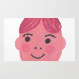 """Kiki"" cute girl with bun and rosy cheeks Rug"