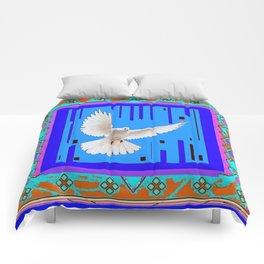 Peace Dove in Blue Ornate Art Pattern Comforters