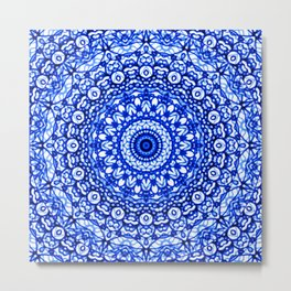 Blue Mandala Mehndi Style G403 Metal Print