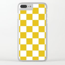 Mustard Yellow Checkers Pattern Clear iPhone Case