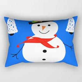 Nadolig Llawen, Merry  Christmas snowman Wales Rectangular Pillow