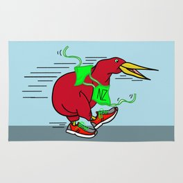 Kiwi Wearing Running Shoes Rug