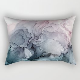 Blush and Payne's Grey Flowing Abstract Painting Rectangular Pillow
