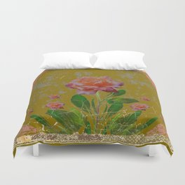ANTIQUE AVOCADO COLOR  CORAL  PINK ROSES BOTANICAL ART Duvet Cover