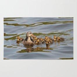 Mallard duck and ducklings Rug