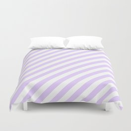 Chalky Pale Lilac Pastel and White Candy Cane Stripes Duvet Cover