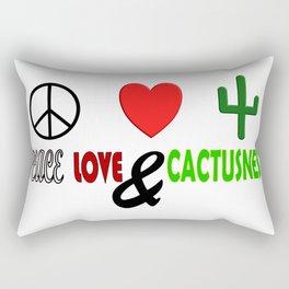 Peace, Love & Cactusness Rectangular Pillow