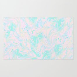 BLUE AND PINK PAINT SWIRL Rug