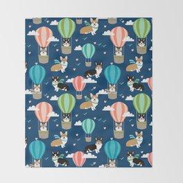 Corgi Hot Air Balloon Dog design - corgi dogs cute dog design Throw Blanket
