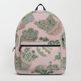 Blush pink mint green rose gold cactus floral Backpack