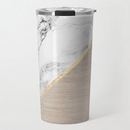 Modern white marble gold stripe wood color block Travel Mug