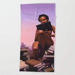 Woman reading stacks of books - Titled: Pornography For Sapiosexuals Beach Towel