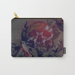 Until One of Us Starts Raving - Skull and Motorbikes Carry-All Pouch