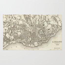 Vintage Map of Lisbon Portugal (1844) Rug
