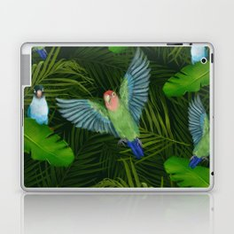 Lovebirds and tropical leafs Laptop & iPad Skin