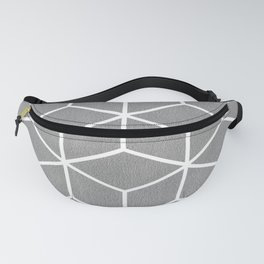 Light Grey and White - Geometric Textured Cube Design Fanny Pack