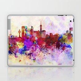 Jeddah skyline in watercolor background Laptop & iPad Skin