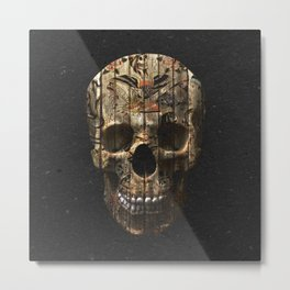 Vintage American Tattoo Skull Wood Stripes Texture Metal Print