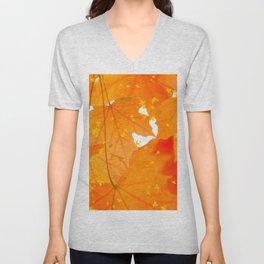 Fall Orange Maple Leaves On A White Background #decor #buyart #society6 Unisex V-Neck